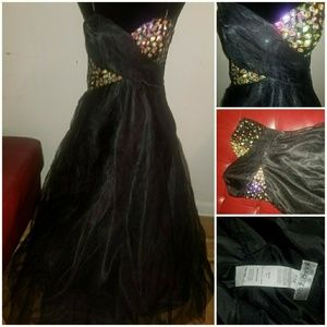 Black lace gown with rhinestones